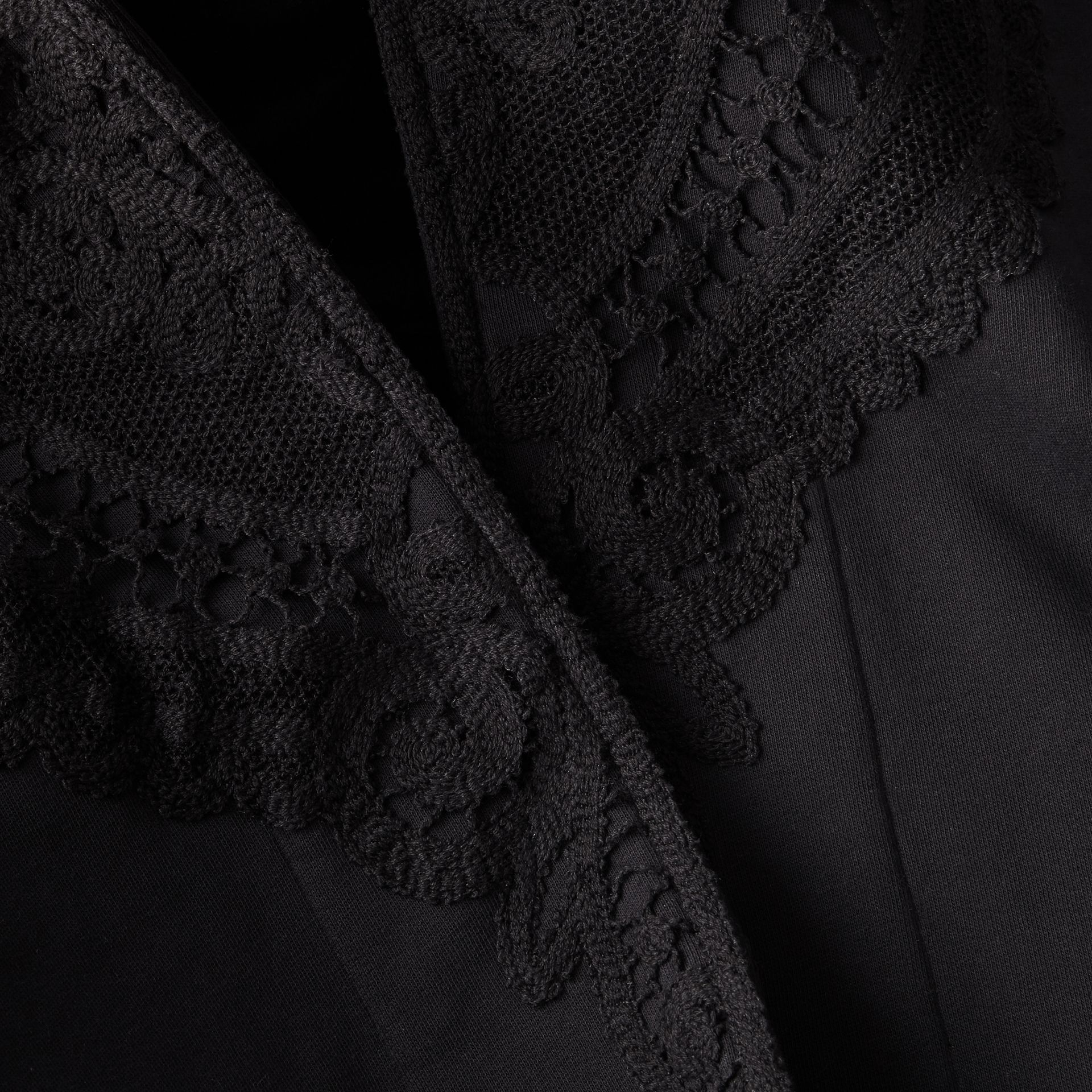 Lace Appliqué Jersey Hooded Poncho - Women | Burberry - gallery image 2