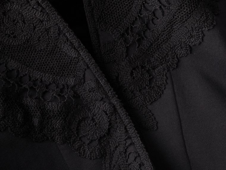 Lace Appliqué Jersey Hooded Poncho - Women | Burberry - cell image 1