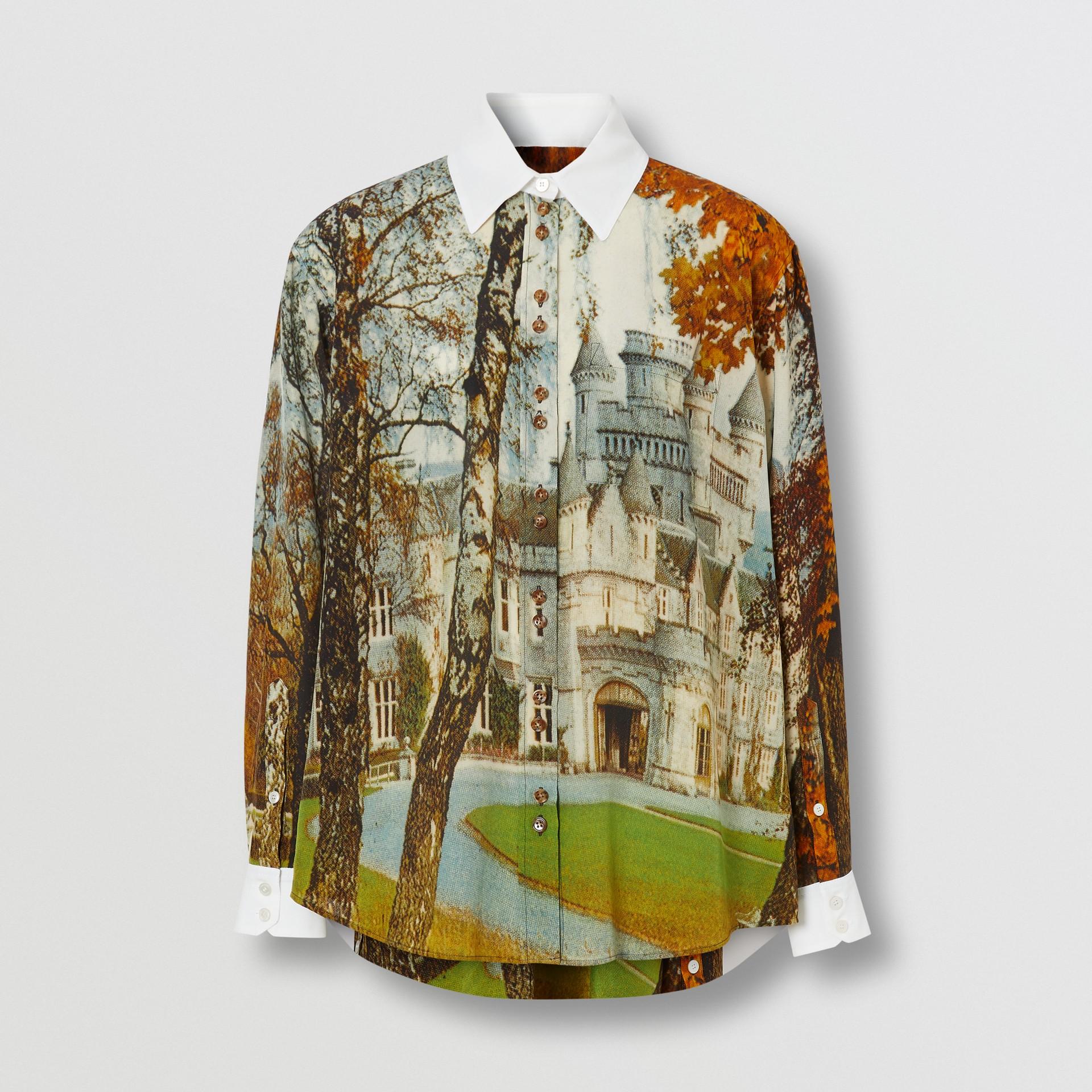 Castle Print Silk Shirt in Pale Cream - Women | Burberry United Kingdom - gallery image 3