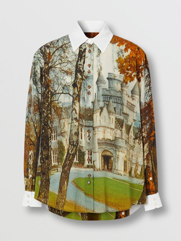 Castle Print Silk Shirt in Pale Cream - Women | Burberry United Kingdom - cell image 3