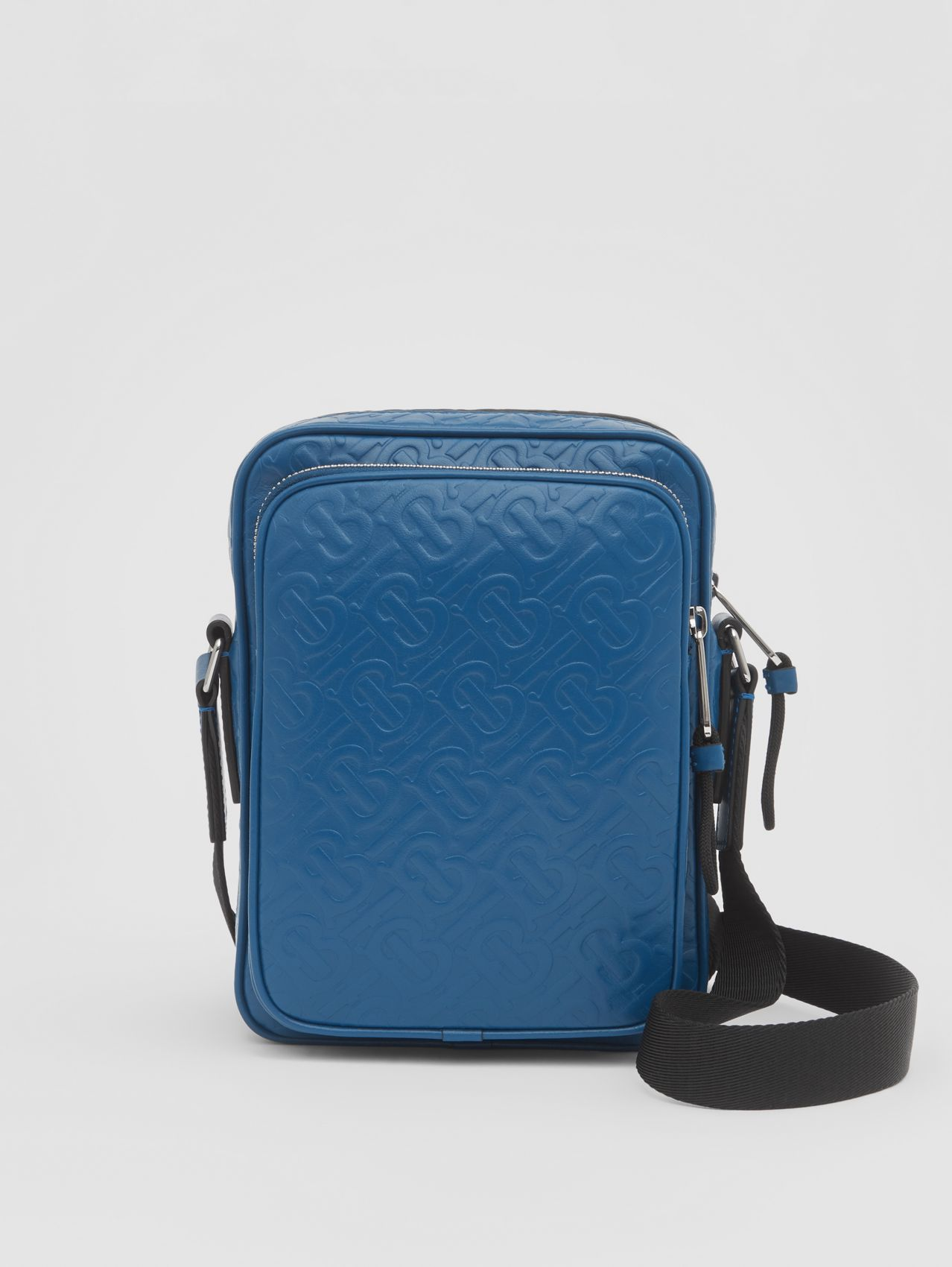 Monogram Leather Crossbody Bag (Pale Canvas Blue)