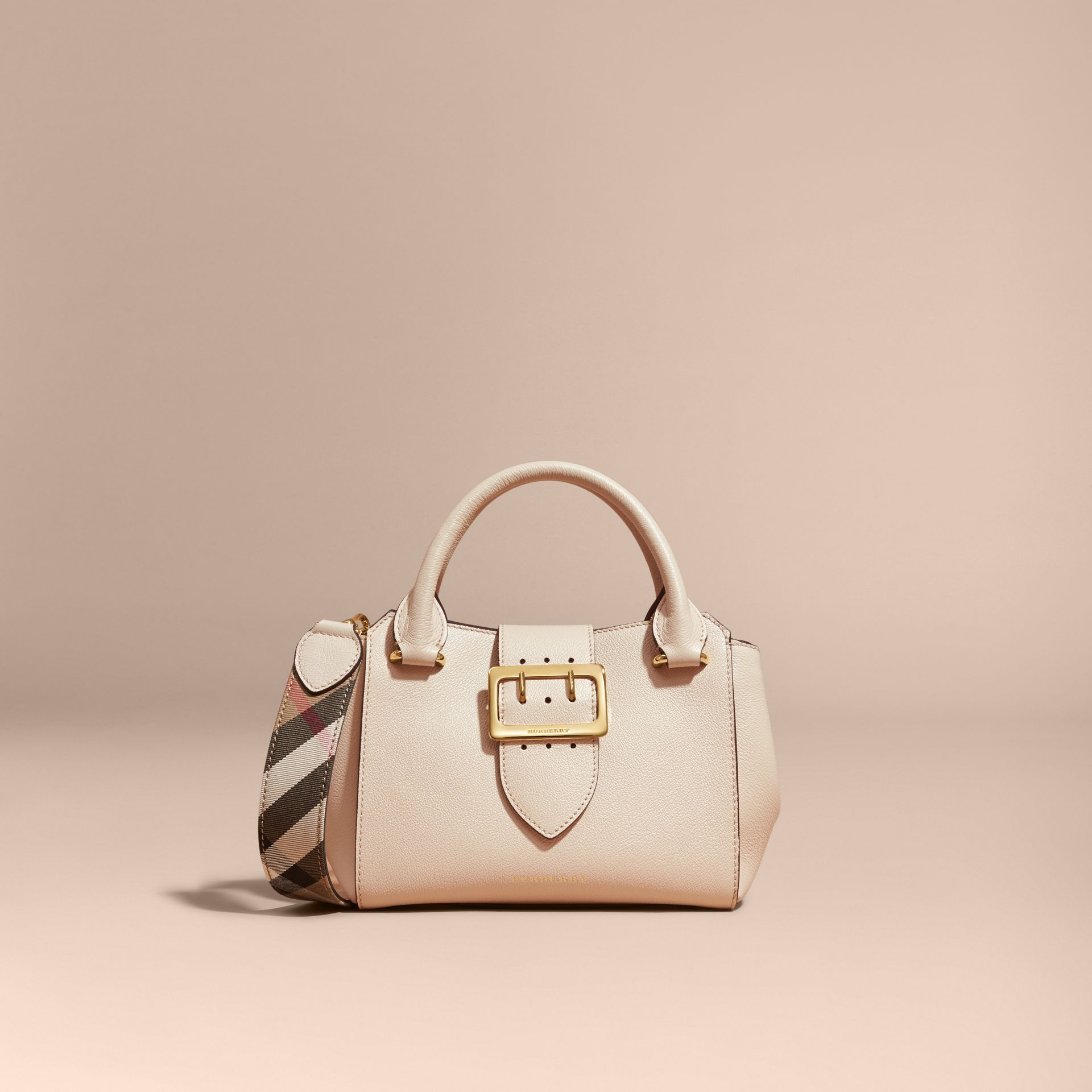 The Small Buckle Tote in Grainy Leather in Limestone - gallery image 9