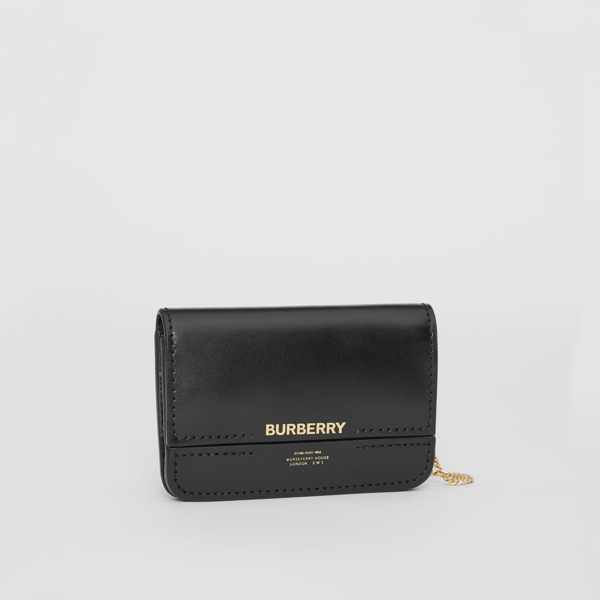 Horseferry Print Card Case with Detachable Strap in Black | Burberry - gallery image 4