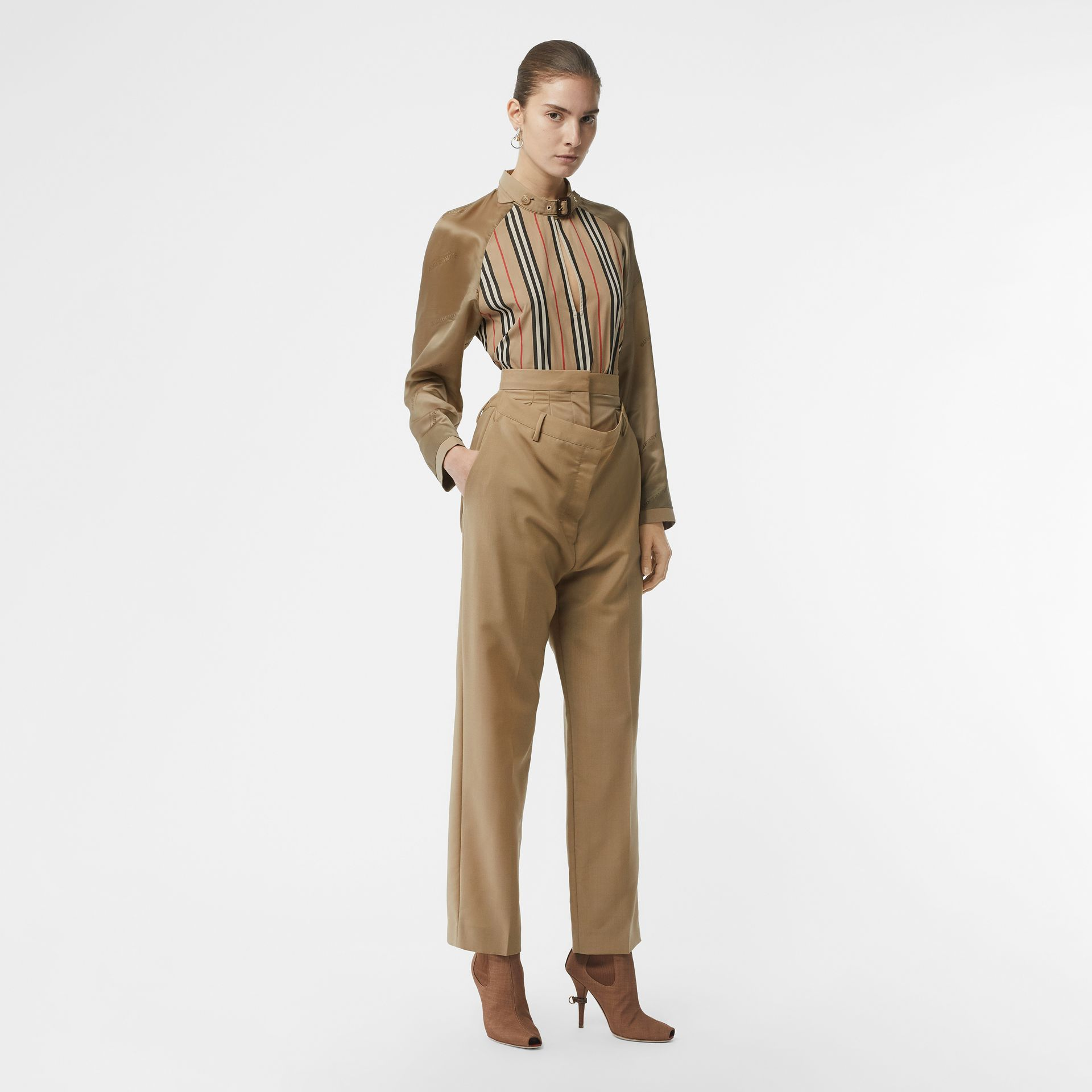 Double-waist Mohair Wool Trousers in Honey - Women | Burberry United States - gallery image 0