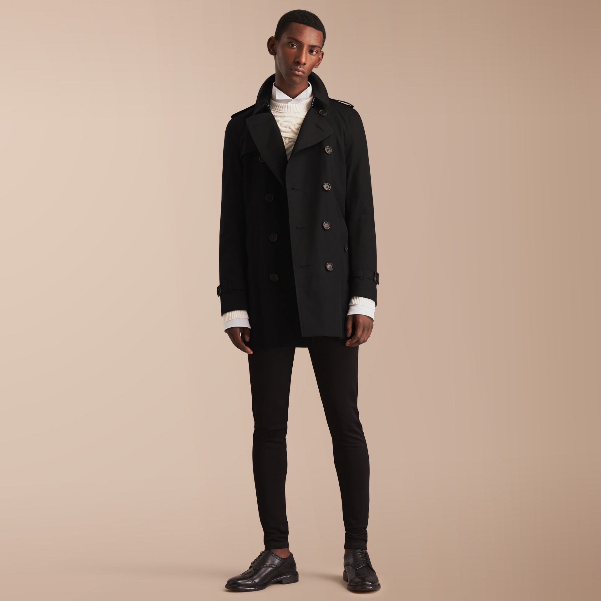 The Kensington – Mid-Length Heritage Trench Coat in Black - gallery image 1
