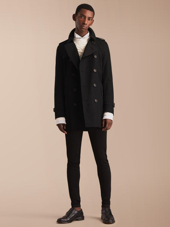 The Kensington – Mid-Length Heritage Trench Coat in Black