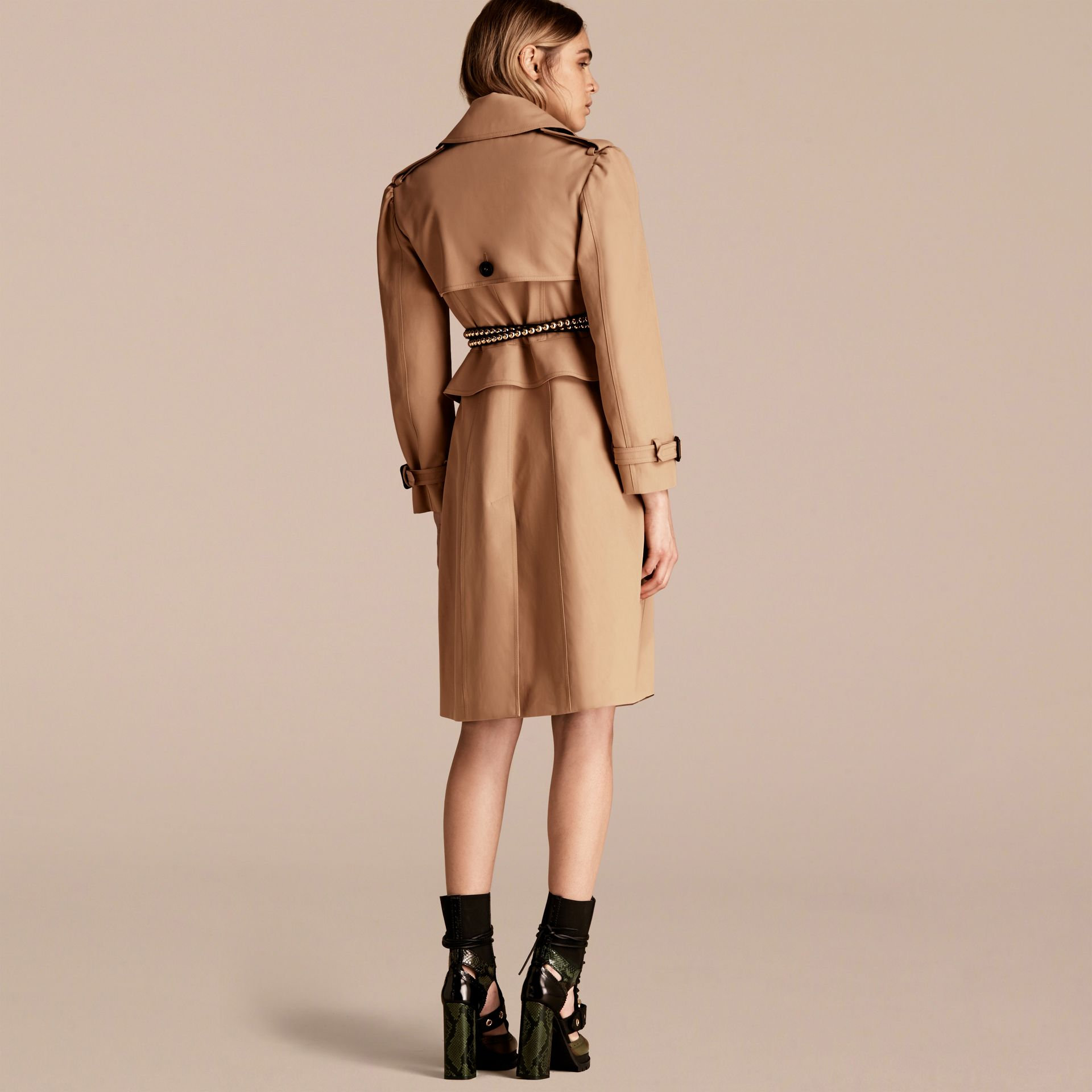 Honey Cotton Gabardine Trench Coat with Notched Waist - gallery image 3