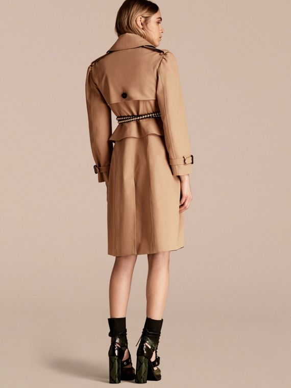 Honey Cotton Gabardine Trench Coat with Notched Waist - cell image 2