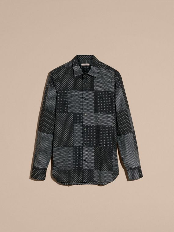 Black Patchwork Print Cotton Shirt Black - cell image 3