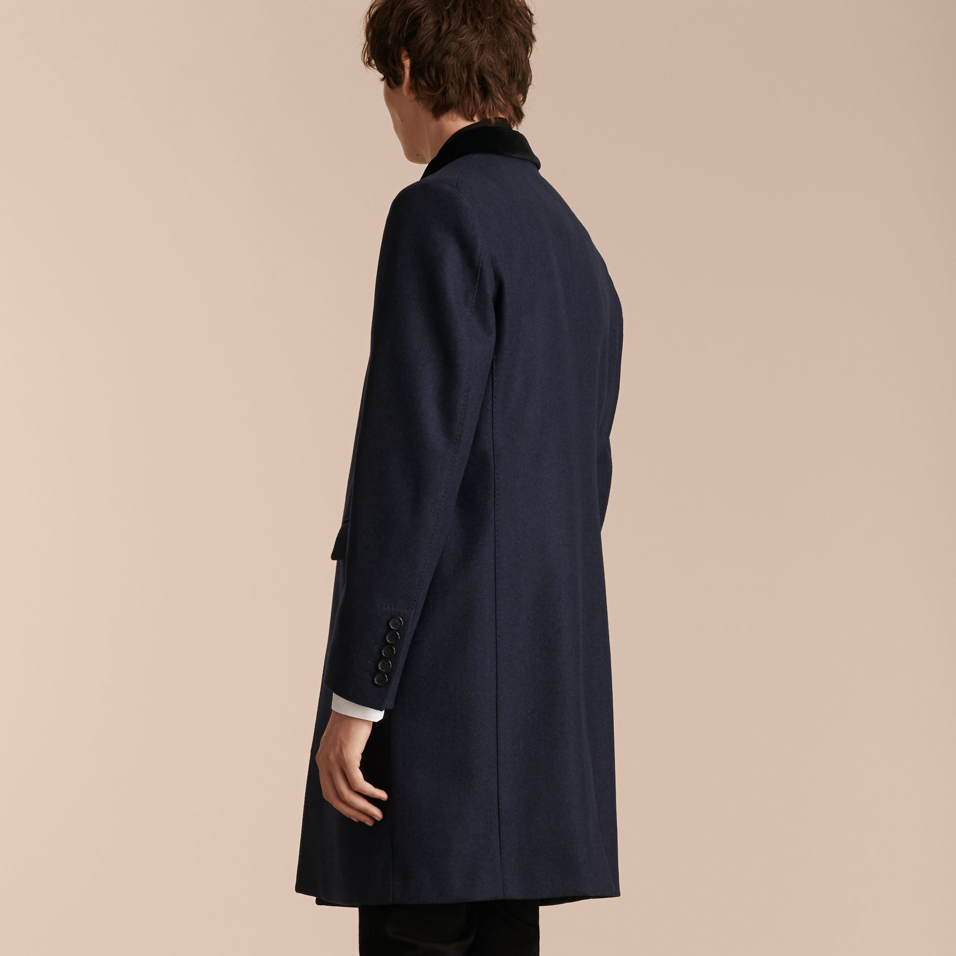 Storm blue Wool Cashmere Coat with Velvet Collar - gallery image 3