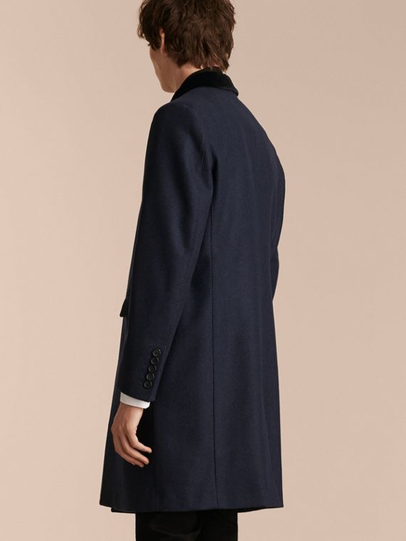 Storm blue Wool Cashmere Coat with Velvet Collar - cell image 2
