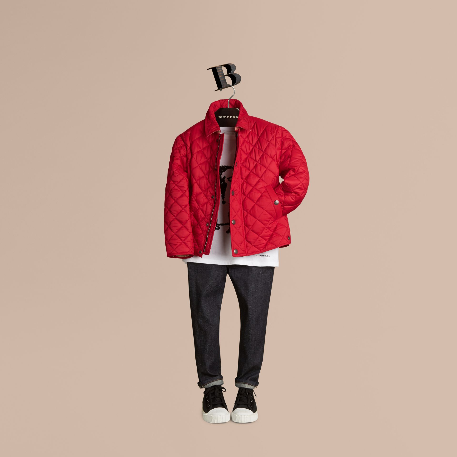 Diamond Quilted Jacket Bright Cherry Red - gallery image 1