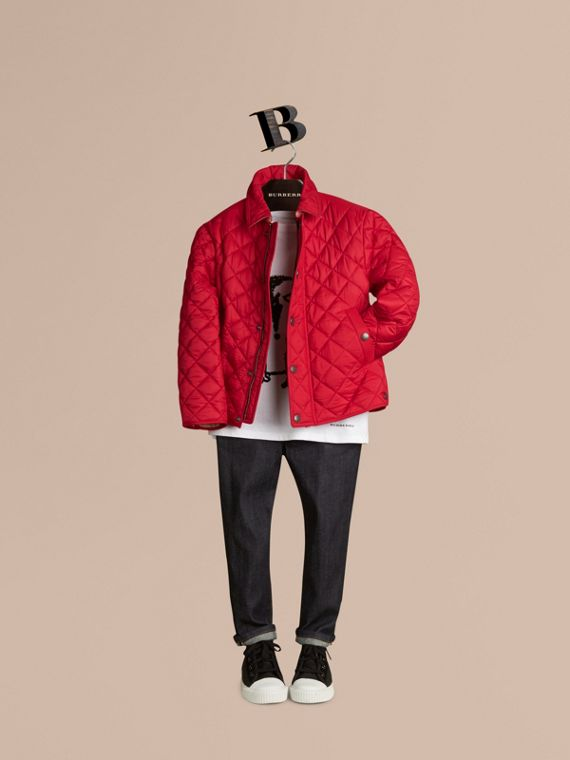 Diamond Quilted Jacket in Bright Cherry Red - Boy | Burberry