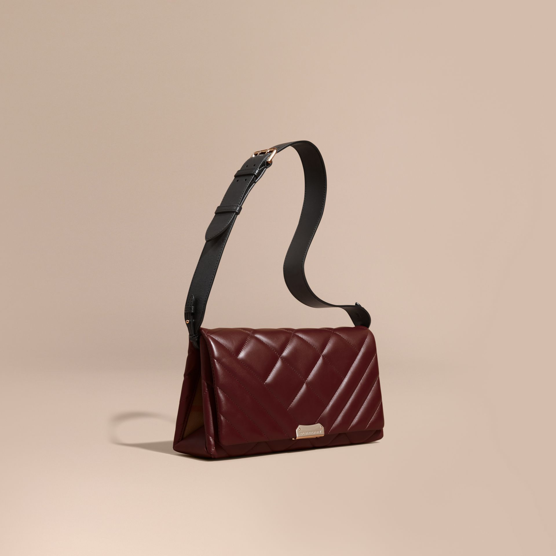 Dark damson Medium Quilted Leather and House Check Clutch Bag - gallery image 1