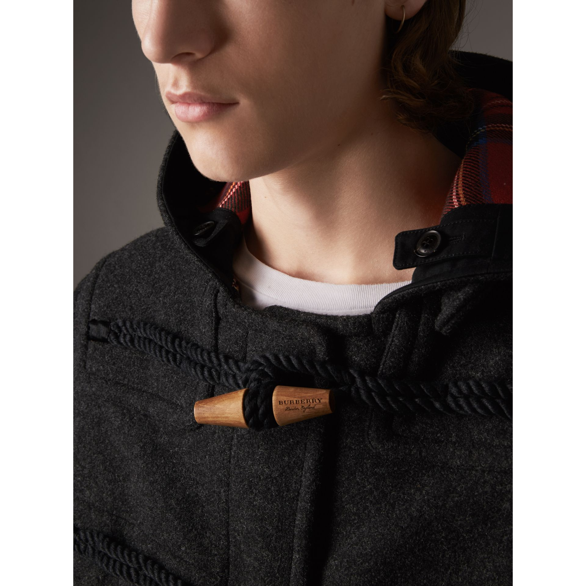 Down-filled Sleeve Wool Blend Duffle Coat in Dark Charcoal Melang - Men | Burberry - gallery image 5