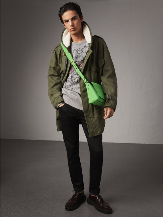 Shearling Collar Ramie Cotton Field Jacket in Olive