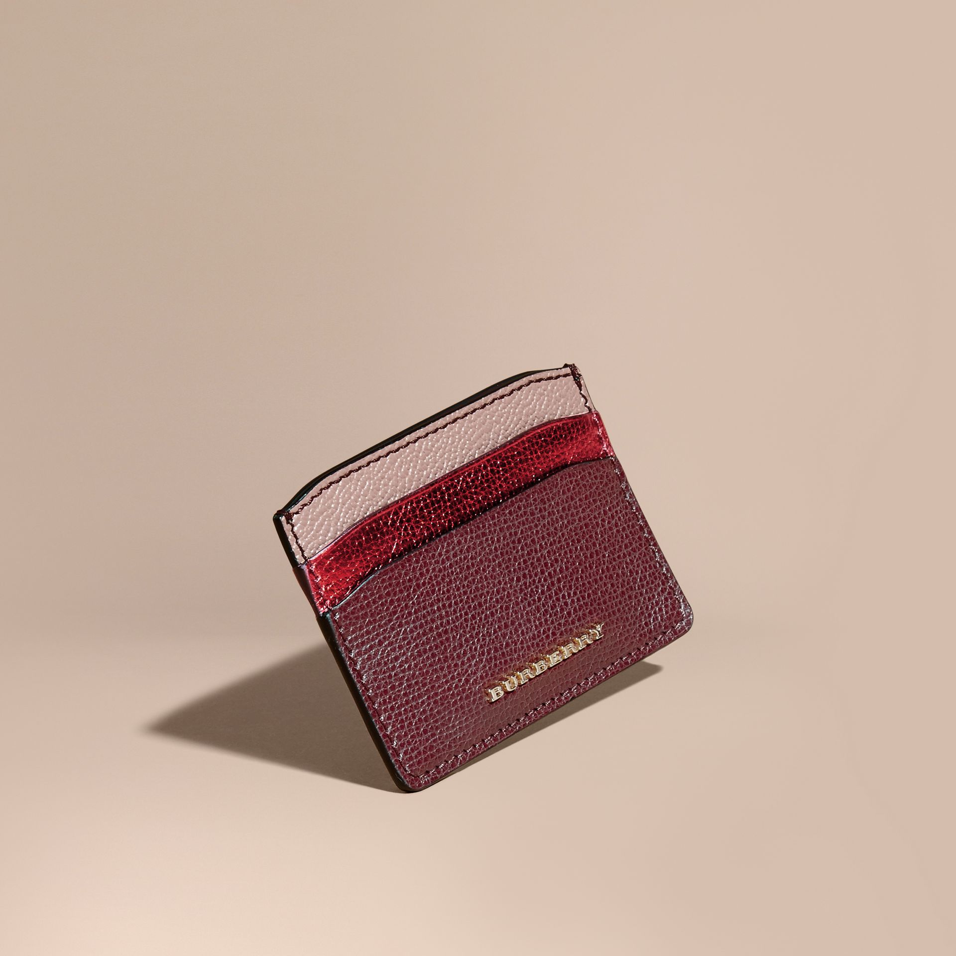Colour Block Leather Card Case in Mahogany Red - gallery image 1