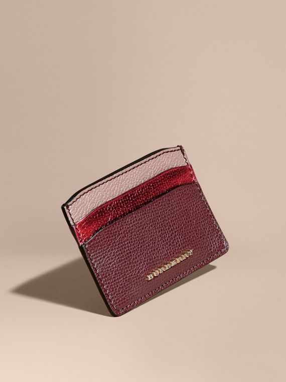 Colour Block Leather Card Case Mahogany Red