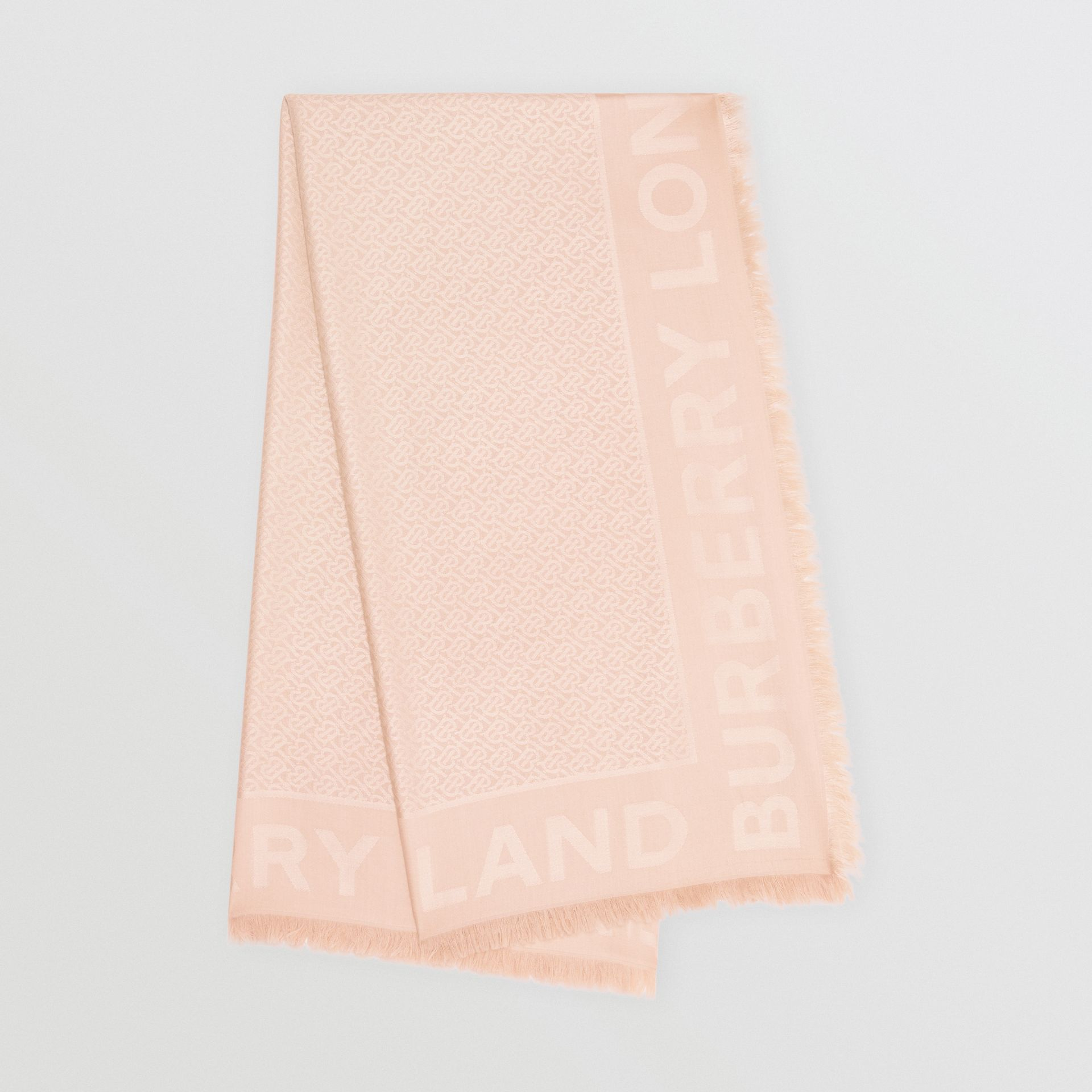 Monogram Silk Wool Jacquard Large Square Scarf in Rose Beige | Burberry United Kingdom - gallery image 0