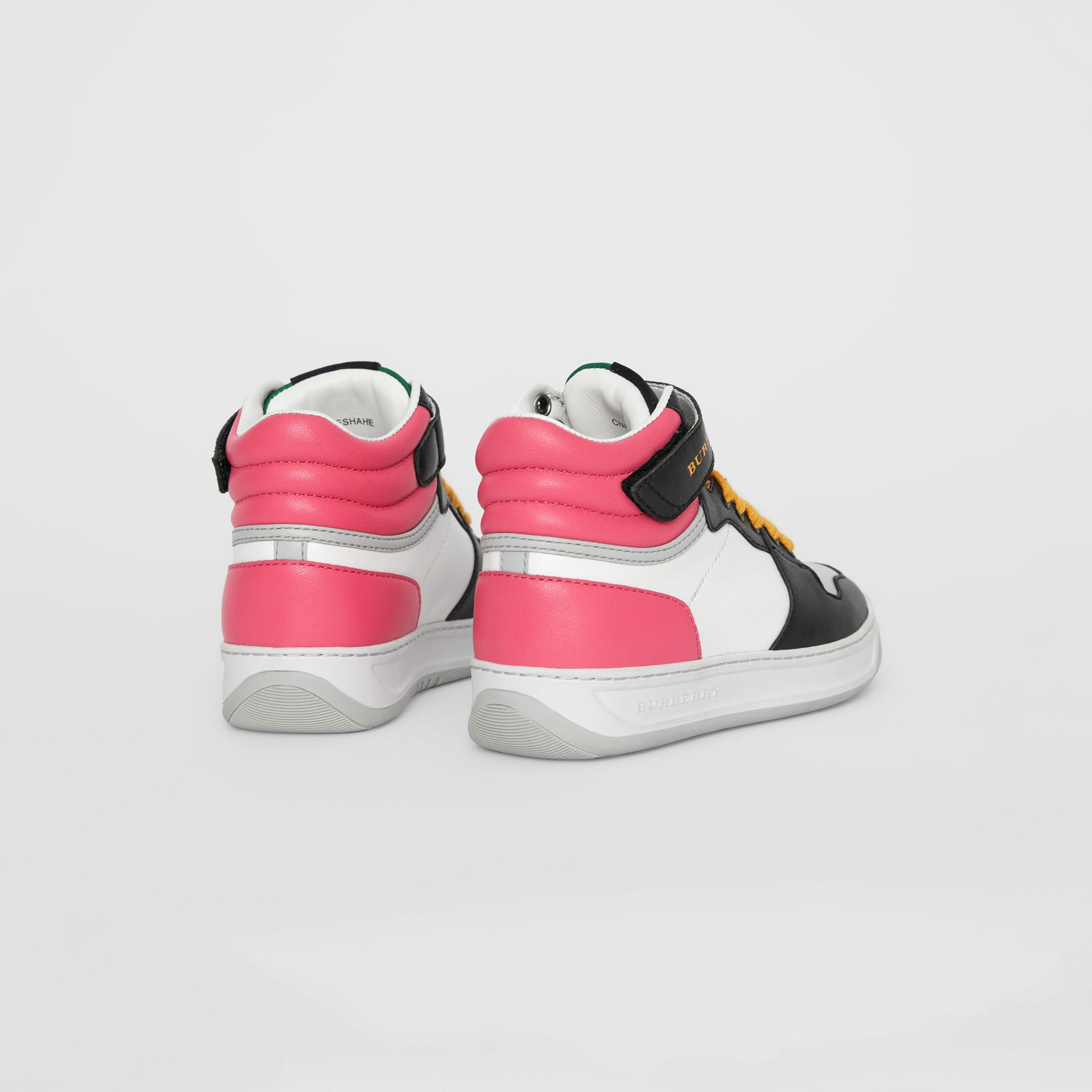 Colour Block Leather High-top Sneakers in Bright Rose | Burberry - gallery image 2