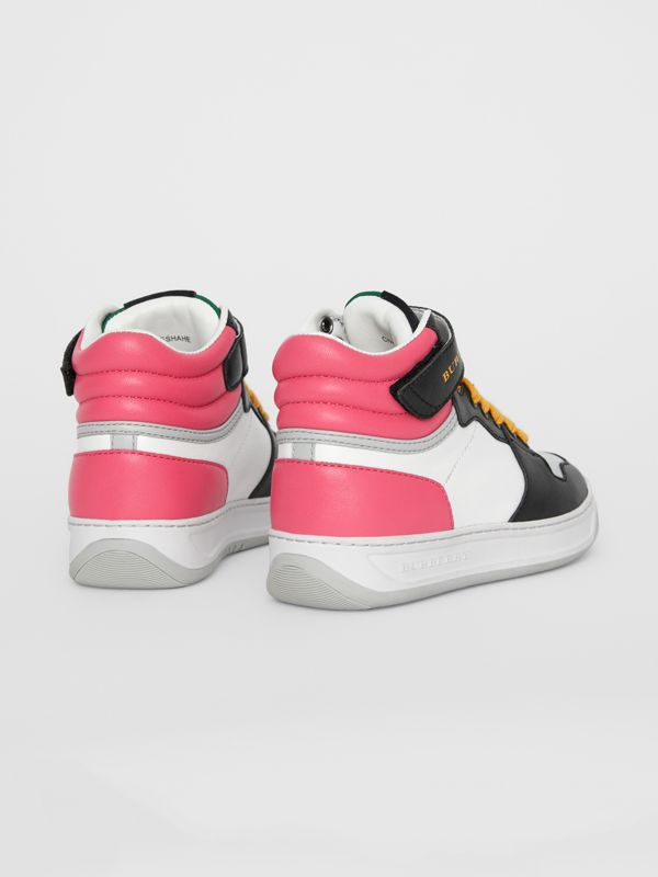 Colour Block Leather High-top Sneakers in Bright Rose | Burberry - cell image 2