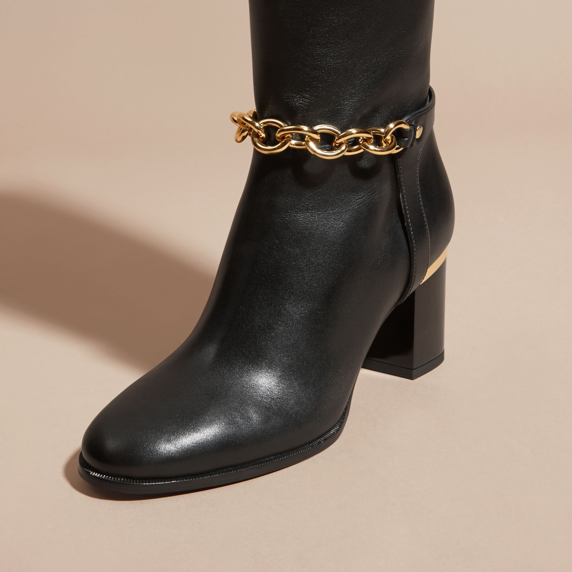 Black Chain Detail Leather Boots - gallery image 5
