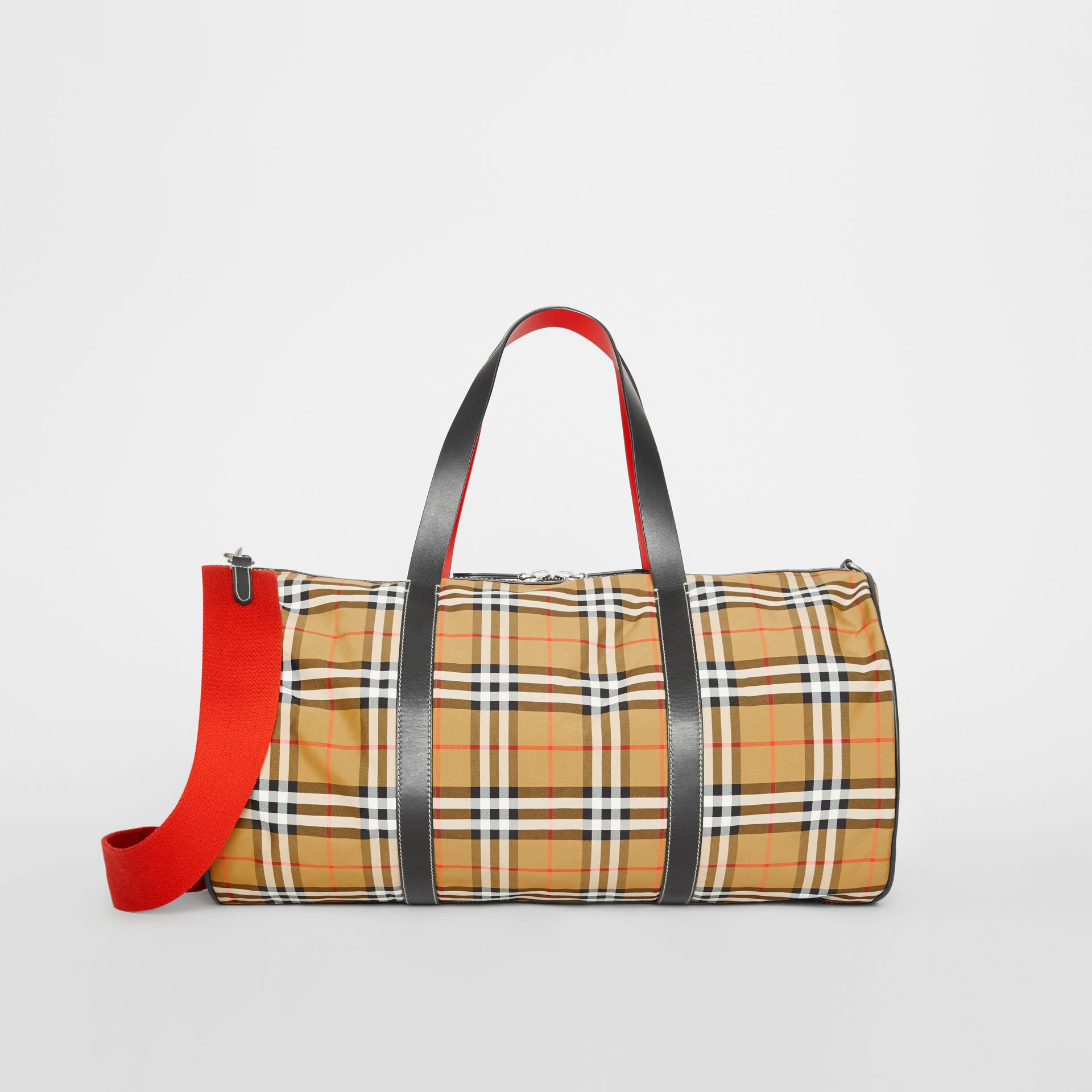 Large Vintage Check and Leather Barrel Bag in Antique Yellow - Men | Burberry Australia - gallery image 0