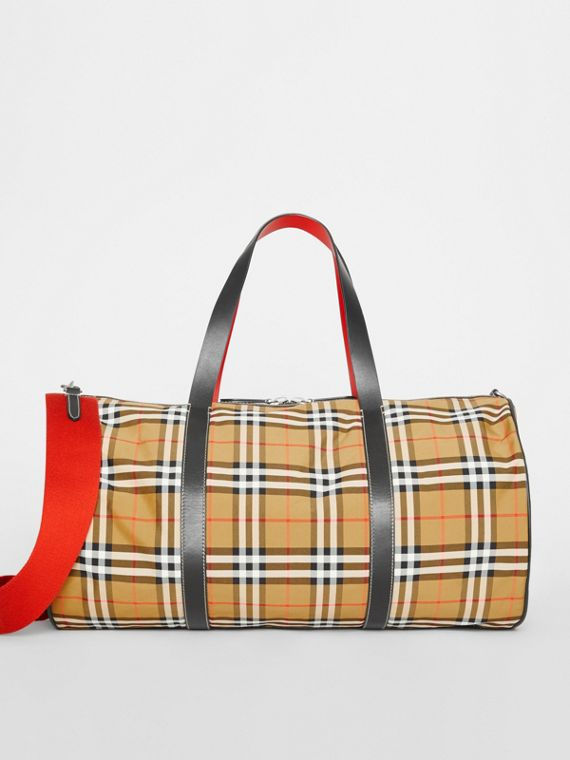 Grand sac The Barrel en cuir et à motif Vintage check (Jaune Antique)