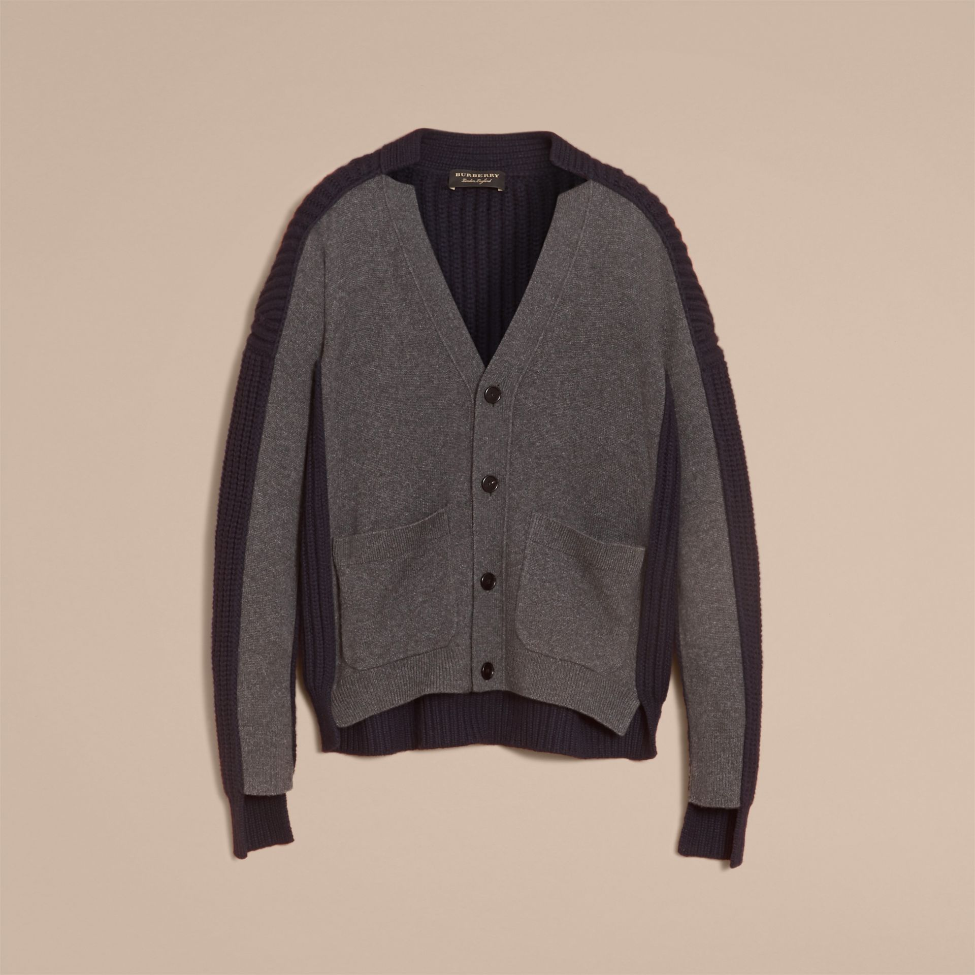 Two-tone Cashmere Cardigan with Ribbed Detail in Grey Navy - Men | Burberry - gallery image 3
