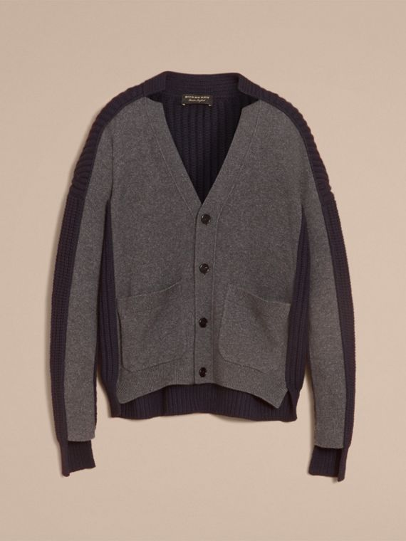 Two-tone Cashmere Cardigan with Ribbed Detail - Men | Burberry - cell image 3