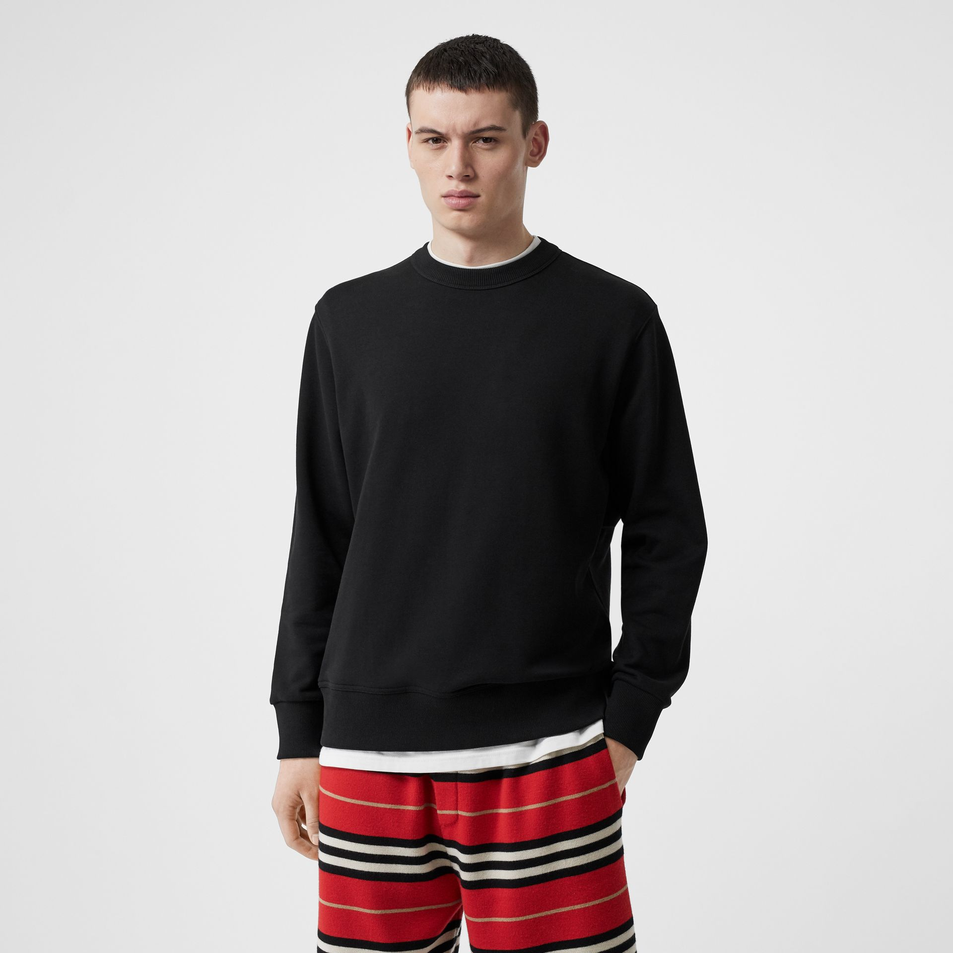 Zip Detail Horseferry Print Cotton Sweatshirt in Black - Men | Burberry - gallery image 2