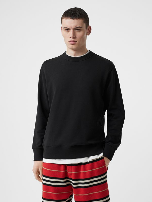 Zip Detail Horseferry Print Cotton Sweatshirt in Black - Men | Burberry United States - cell image 2