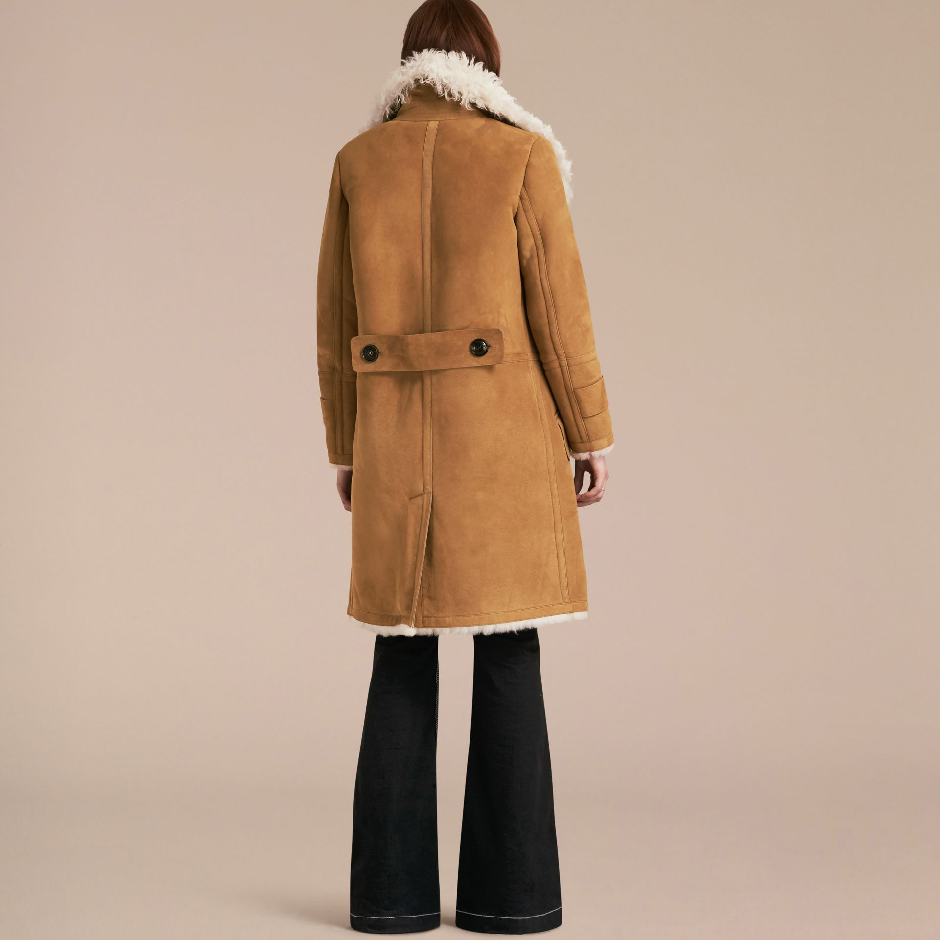 Ecru/tan Double-breasted Shearling Coat - gallery image 3