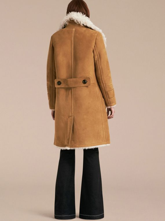 Ecru/tan Double-breasted Shearling Coat - cell image 2