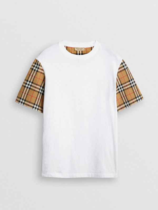 Vintage Check Sleeve Cotton T-shirt in White - Women | Burberry Canada - cell image 3