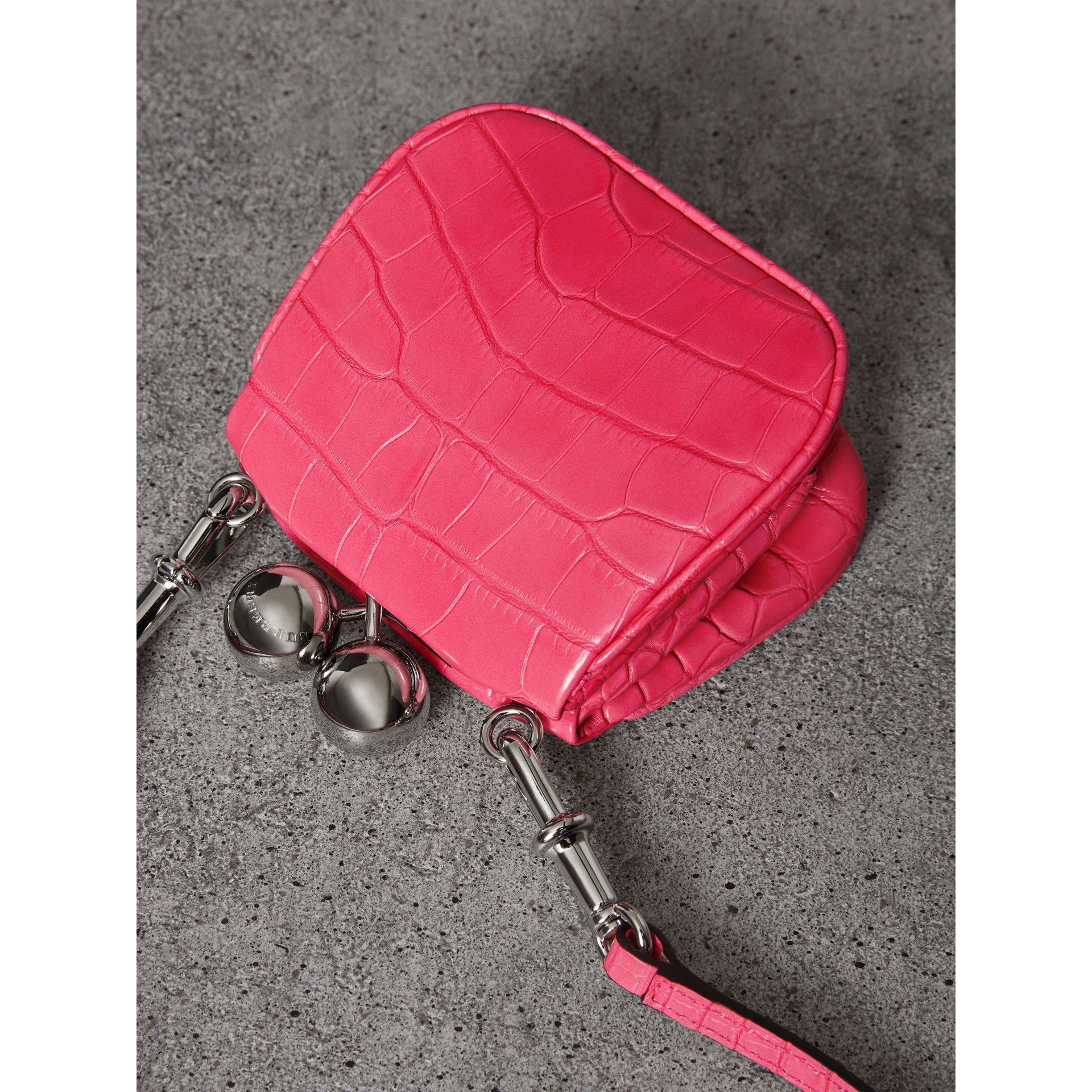 Mini Alligator Metal Frame Clutch Bag in Neon Pink - Women | Burberry Hong Kong - gallery image 3