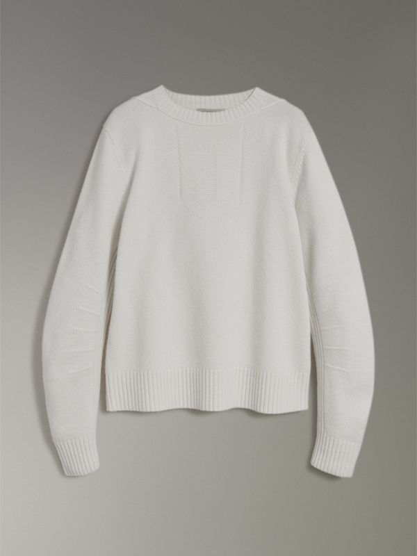 Anchor Intarsia Merino Wool Cashmere Sweater in Natural White - Men | Burberry Canada - cell image 3
