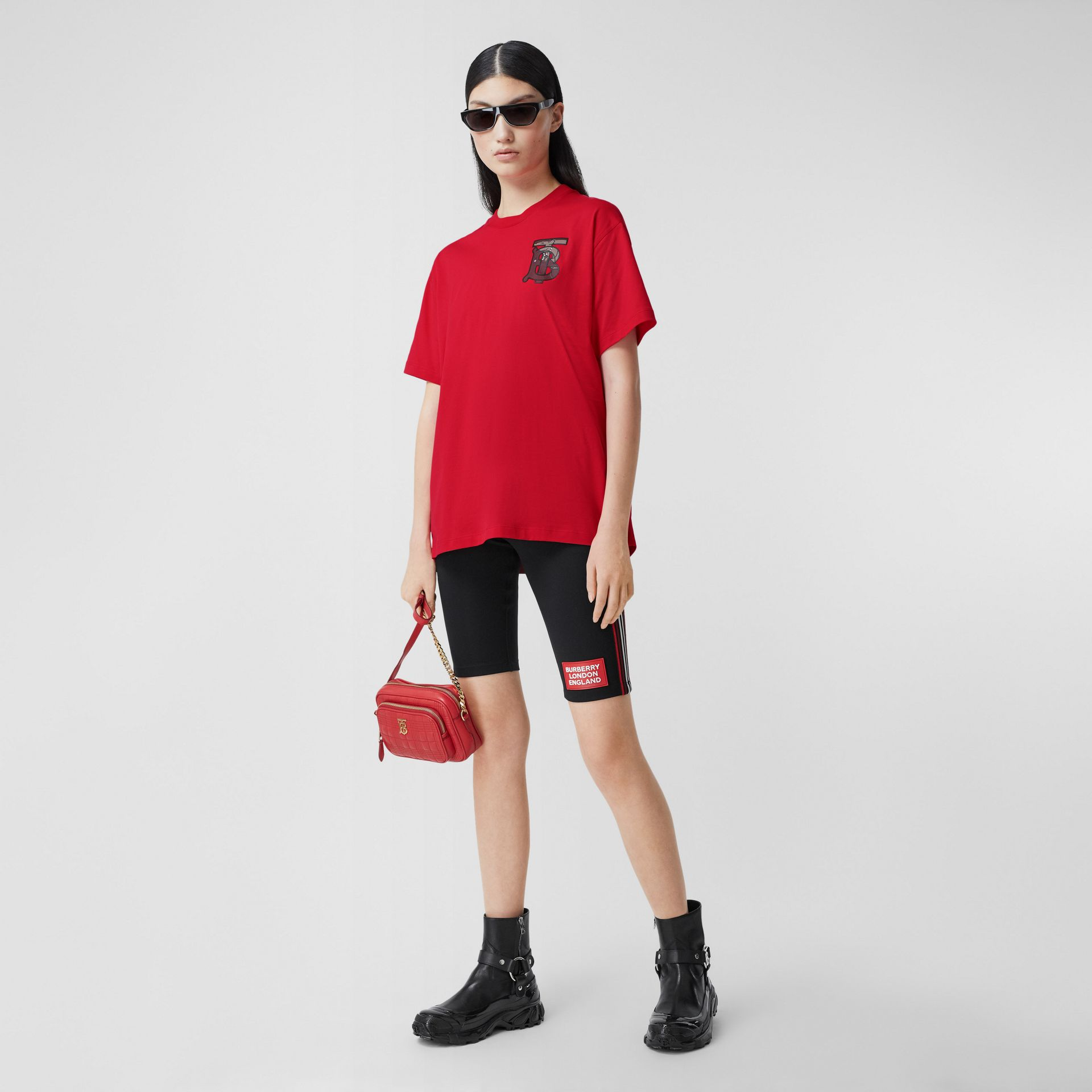 Monogram Motif Cotton Oversized T-shirt in Bright Red - Women | Burberry United Kingdom - gallery image 0