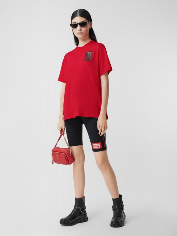 Monogram Motif Cotton Oversized T-shirt in Bright Red