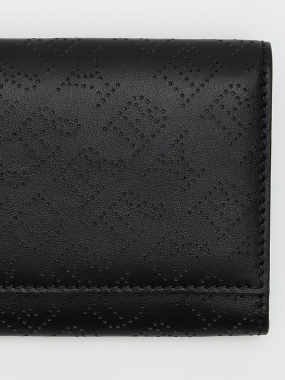 Small Perforated Logo Leather Wallet in Black - Women | Burberry - cell image 1
