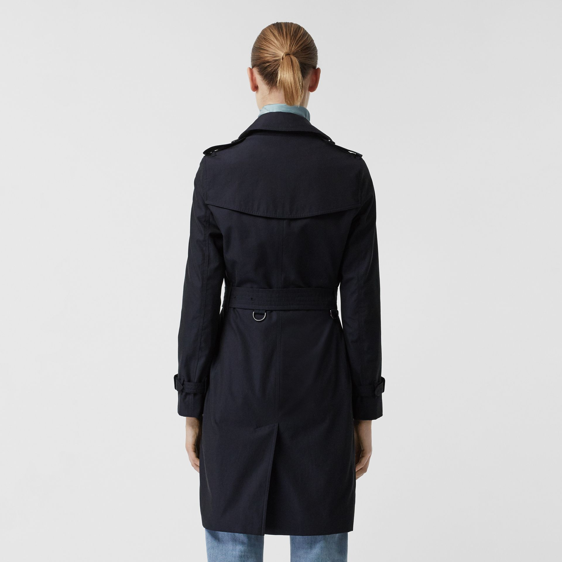 Kensington Fit Cotton Gabardine Trench Coat in Blue Carbon - Women | Burberry - gallery image 2