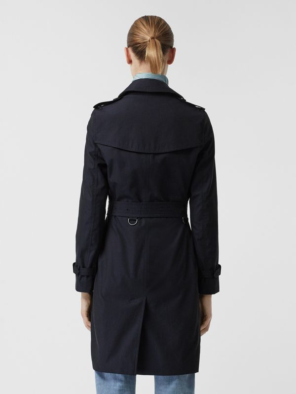 Kensington Fit Cotton Gabardine Trench Coat in Blue Carbon - Women | Burberry - cell image 2