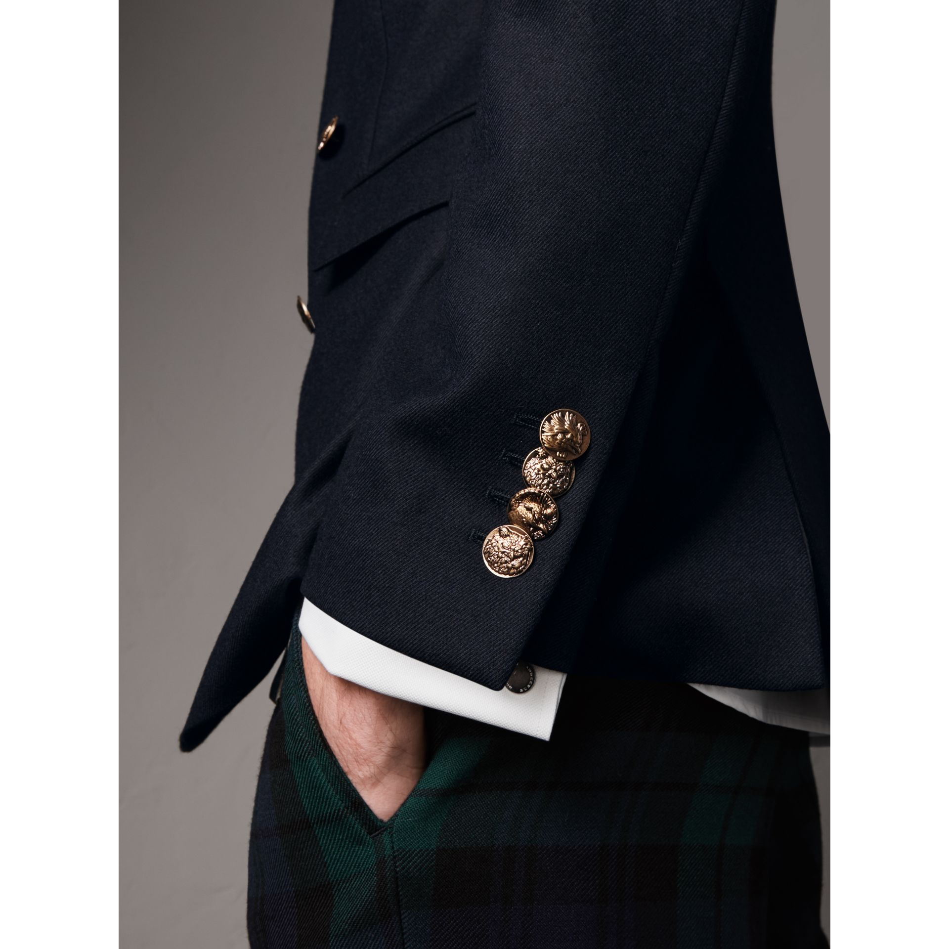 Slim Fit Wool Tailored Jacket with Bird Buttons in Navy - Men | Burberry - gallery image 5