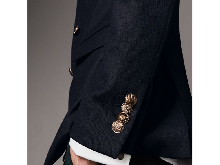 Slim Fit Wool Tailored Jacket with Bird Buttons in Navy - Men | Burberry Singapore - cell image 4