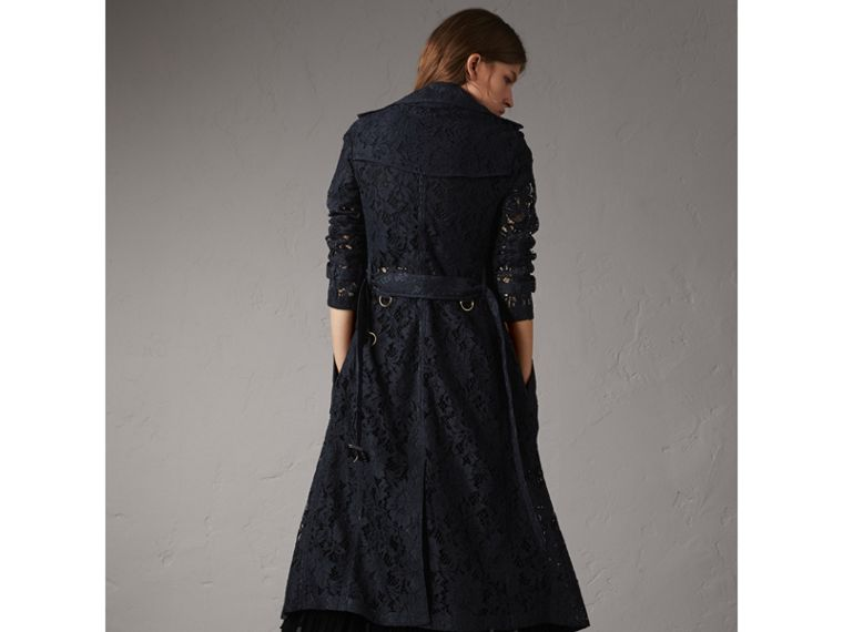 Macramé Lace Trench Coat in Navy - Women | Burberry - cell image 1