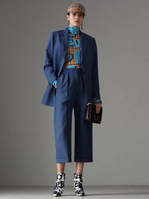 Bodi de cuello alto en tejido jersey de Vintage Checks grafiteados (Azul Intenso)