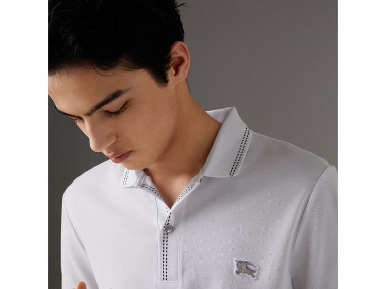 Cotton Piqué Polo Shirt in White - Men | Burberry - cell image 1