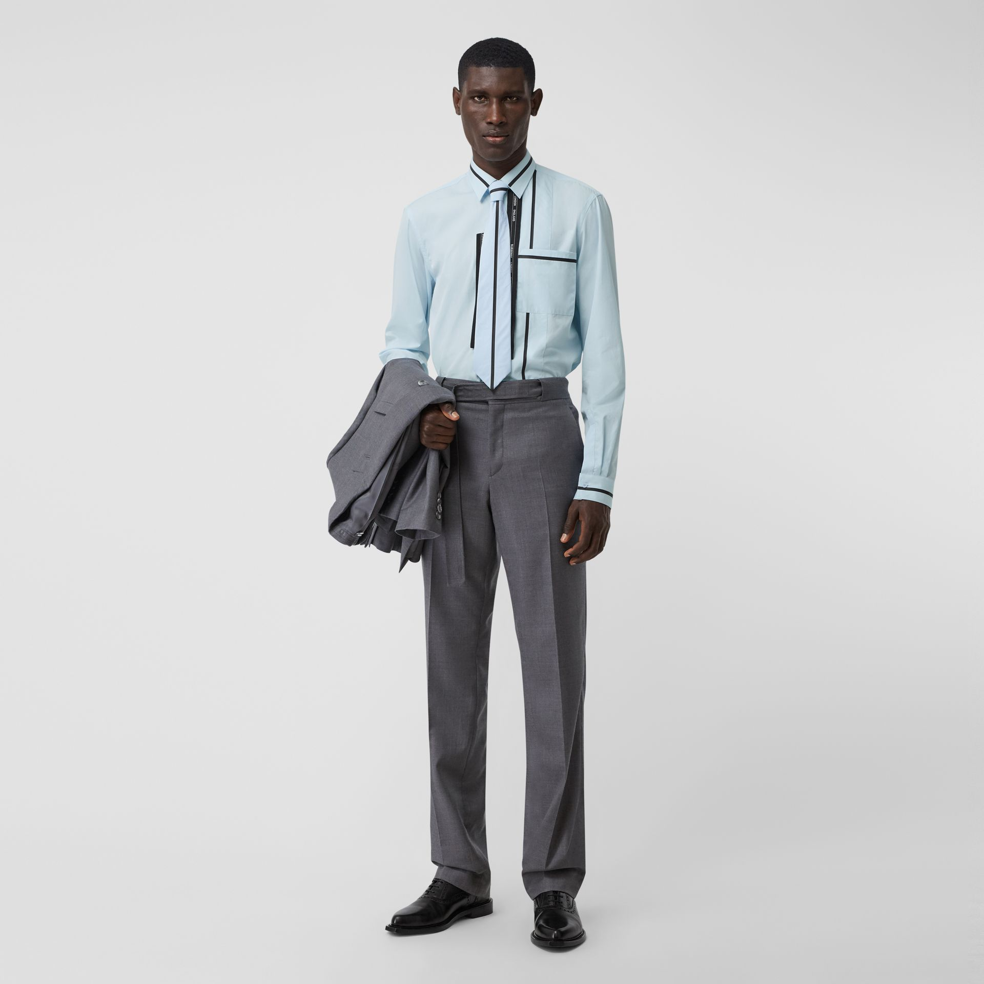 Classic Fit Logo Tape Detail Cotton Poplin Shirt in Pale Blue | Burberry Australia - gallery image 5