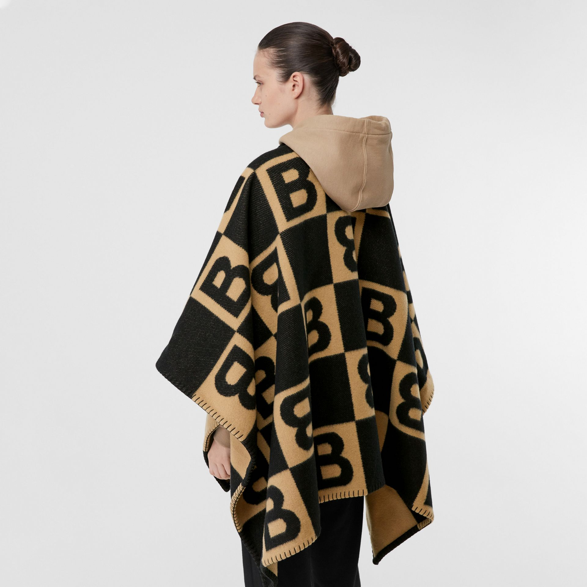 B Motif Merino Wool Cashmere Cape in Archive Beige - Women | Burberry - gallery image 2