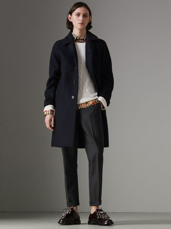 Cashmere Car Coat in Navy